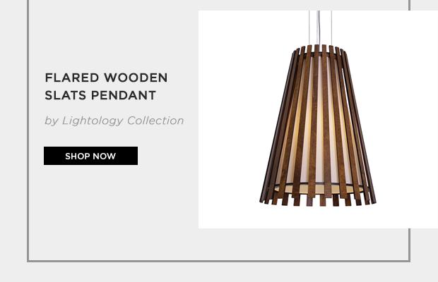 Flared Wooden Slats Pendant