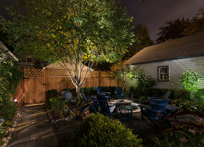How to add accent lights to your trees and yard lightology for How to landscape backyard