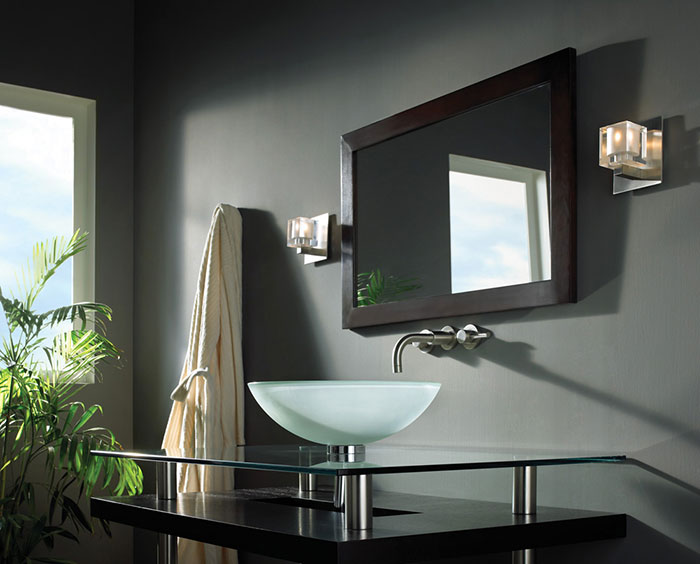 vanity with lights on mirror. Cube Wall Sconce Best Bathroom Vanity Lighting  Lightology