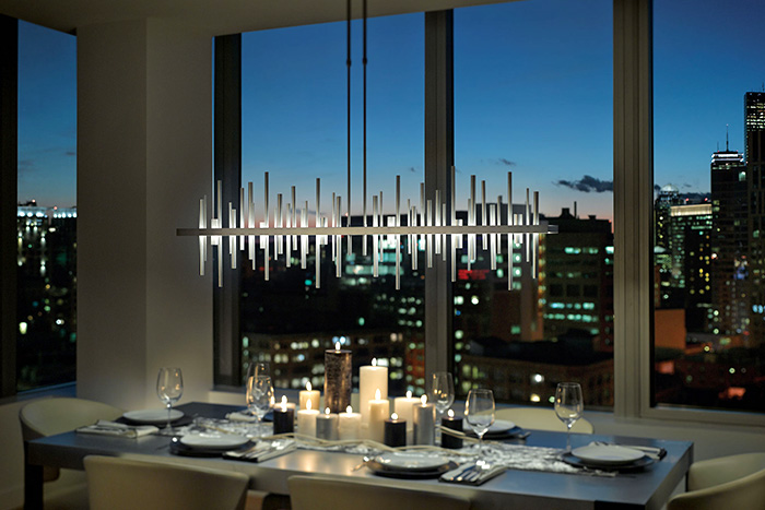 how to light a dining room cityscape led large linear pendant by hubbardton forge - Linear Dining Room Light Fixtures