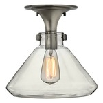 Congress Flat Bottom Semi Flush - Antique Nickel / Clear