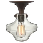 Congress Saturn Semi Flush Ceiling Light - Oil Rubbed Bronze / Clear