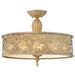 Carabel Semi Flush Ceiling Light - Brushed Champagne / Ivory