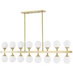Astoria Linear Chandelier - Aged Brass / Opal