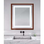 Momentum Lighted Mirror - Cherry Wood /