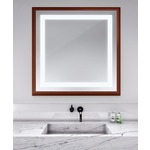 Momentum Square Lighted Mirror - Cherry Wood /
