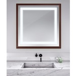 Momentum Square Lighted Mirror - Walnut /