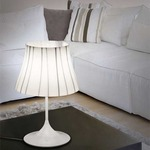 Chanel Table Lamp - White / White / Black Filigree