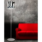 White And Black Floor Lamp - White / White / Black