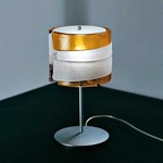 Riflessi Table Lamp - Polished Chrome / Satin Crystal / Amber