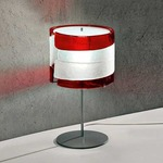 Riflessi Table Lamp - Polished Chrome / Satin Crystal / Red