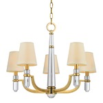 Dayton Chandelier - Aged Brass / Off White