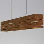 Aeris LED Linear Pendant - Brushed Aluminum / Oiled Walnut