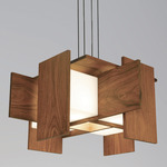 Muto LED Pendant - Brushed Aluminum / Oiled Walnut