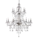 Crystal Fountain 2-Tier Chandelier - Polished Chrome / Crystal