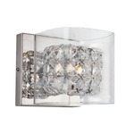 Block Crystal Vanity Bath Bar - Polished Chrome / Crystal