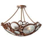 Fascination Semi Flush Ceiling Light - Hammered Ore /