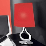 Slight Table Lamp - Polished Steel / Red