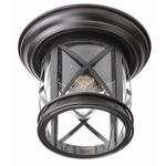 New England Coastal Outdoor Flush Mount - Rubbed Oil Bronze / Clear
