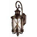 New England Outdoor Coastal Coach Wall Light - Rubbed Oil Bronze / Clear