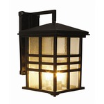 Rustic Craftsman Coach Wall Lantern - Black / Clear
