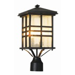 Rustic Craftsman Post Lantern - Black / Clear