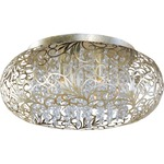 Arabesque Oval Ceiling Flush Light - Golden Silver / Crystal