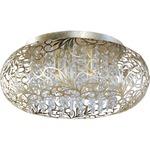 Arabesque Oval Ceiling Flush Light - Golden Silver / Crystal