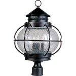 Portsmouth Outdoor Post Mount - Oil Rubbed Bronze / Seedy Glass