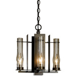 New Town 4 Arm Chandelier - Bronze / Clear Seeded