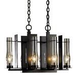 New Town 6 Arm Chandelier - Dark Smoke / Clear Seeded