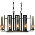 New Town 8 Arm Chandelier - Bronze / Clear Seeded