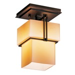 Kakomi Semi Flush Ceiling Light - Bronze / Stone