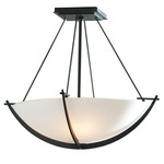 Compass Semi Flush Ceiling Light - Black / Opal