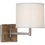 Oliver Swing Arm Wall Light - Unfinished Mango Wood/ Patina Nickel / Heather Linen