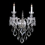 Traditional Crystal One Light Wall Sconce - Polished Chrome / Crystal