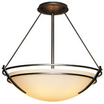 Presidio Tryne Semi Flush Ceiling Light - Natural Iron / Opal