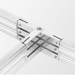 2-Circuit Monorail T Connector - Satin Nickel / Clear