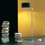 Divina Floor Lamp - Chrome / Black Plisse