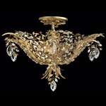 Amytis Semi Flush Ceiling Light - Heirloom Gold / Crystal