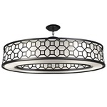 Black and White Story 816640 Oval Pendant - Satin Black / White Linen