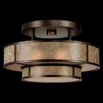 Singapore Moderne Semi Flush Ceiling Light - Patinated Bronze /