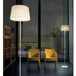 Cloth Floor Lamp - Chrome / White Satin