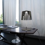 Cloth Table Lamp - Chrome / White Metallic