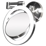10x/1x Surround Swivel Wall Mount Mirror - Hard wire Ready - Satin Nickel / Mirror