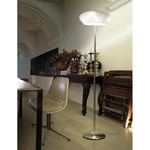 Marble Floor Lamp - Satin Nickel / White