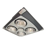 A716A MC Exhaust Fan with Heater and Light - Matte Silver / Chrome