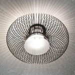 Spring Ceiling Light - Polished Black / Sanded Glass