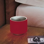 Round Mini Table Lamp - Satin Nickel / Red Glass / Satin Nickel Diffuser