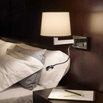 Lexa FL Horizontal Backplate Wall Lamp - Chrome / White Cotton